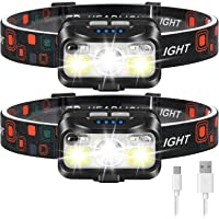 Headlamp Rechargeable, LHKNL 1100 Lumen Super Bright Motion Sensor Head Lamp flashlight, 2-PACK Waterproof LED Headlight…