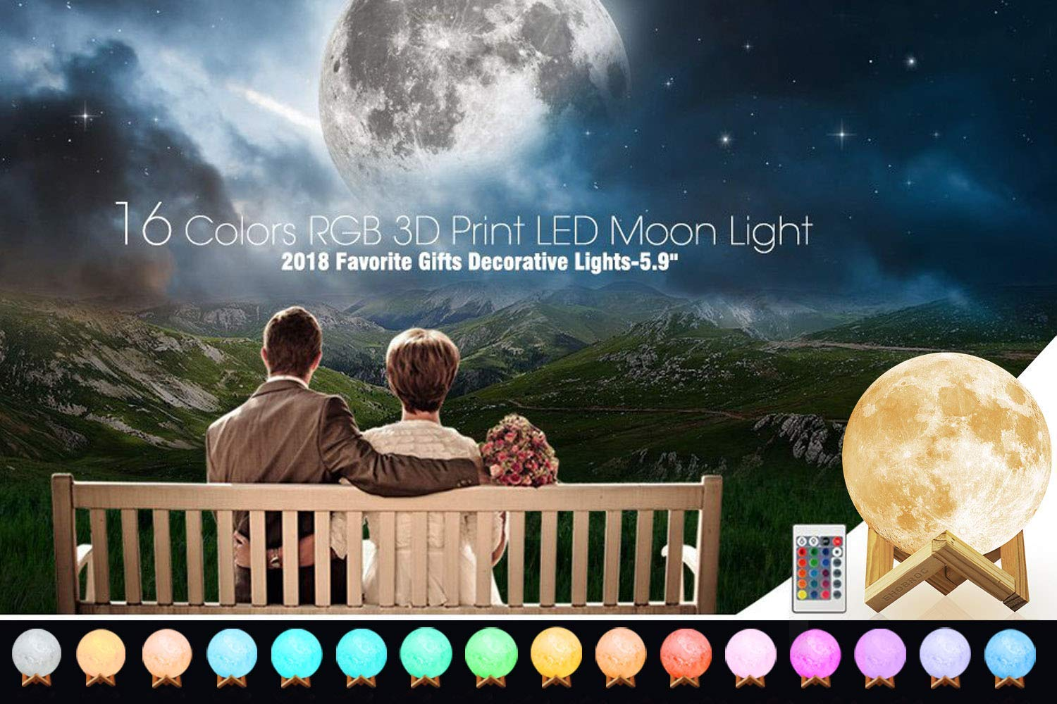 Moon Lamp, 16 Colors 3D Printed Moon Night Light (Large, 5.9in) with Stand, USB Charging, Touch & Remote Control - Cool Nursery Decor for Baby, Top Birthday Party Gift Christmas Gifts by YICAI (Image #3)