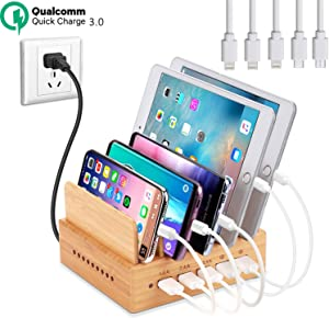 Fast Charging Station for Multiple Devices - 5 USB Ports Docking Organizer Include Two QC 3.0 - Compatible with iPhone iPad and Android Cell Phone and Tablet (5 Short Cables Included)