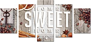 """AWLXPHY Decor Home Sweet Home Sign Canvas Wall Art Painting 5 Panels Framed for Kitchen Room Decoration Modern Still Life Coffee Stretched Artwork Giclee Home Decoration(Yellow, 40"""" Wx20 H)"""
