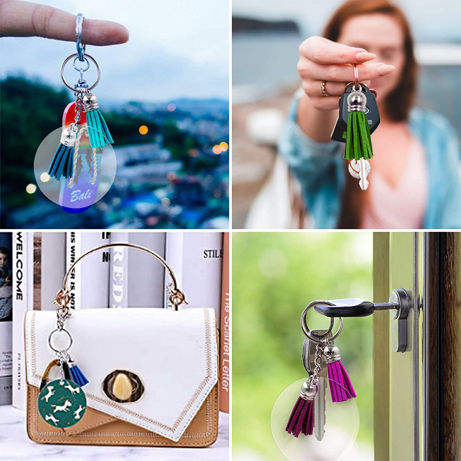 Acrylic Keychain Blanks 2 inch 24 Pieces Key Chains and 24 Pieces Colorful Tassel DIY Projects and Crafts Keychain Tassels Set for Vinyl Owlbbabies 96pcs Bulk Keychain Rings Set Acrylic Transparent Circle Discs