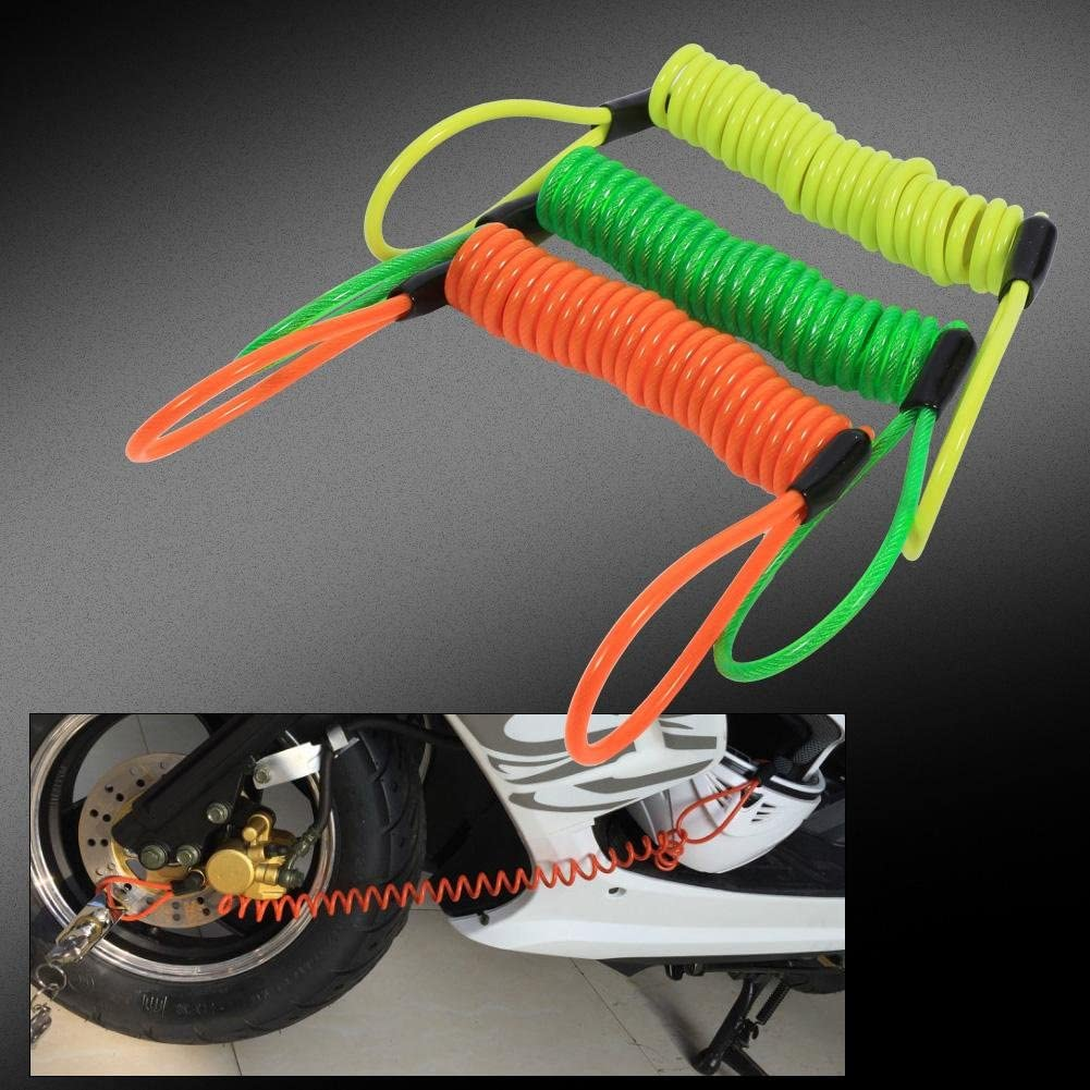 Motorcycle Bike Alarm Disc Lock Antitheft Security Spring Reminder Coil Cable Green Disc Lock Cable