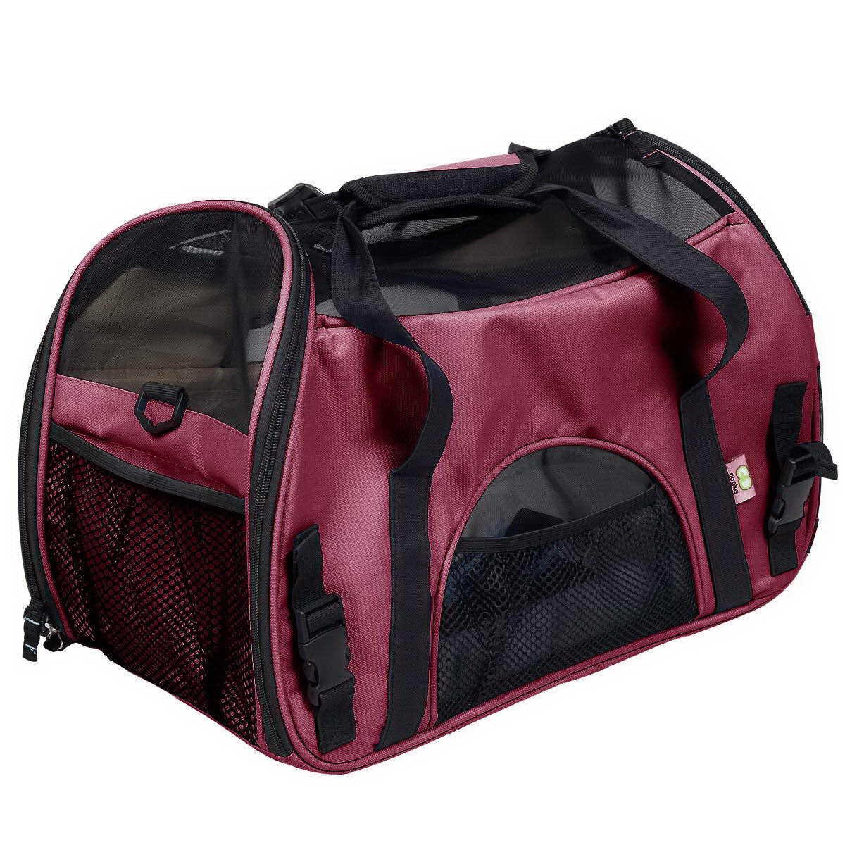 Red Pet Tote Dog Backpack Multifunction Folding Cat Bag Breathable Portable Travel Shoulder Bag Polyester 48  24  32Cm