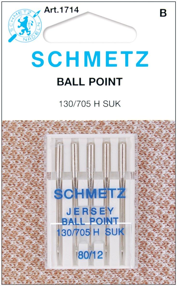 Schmetz 1714C Ball Point Jersey Machine Needles, Size 80/12, 5-Pack Size 80/12 Spinrite