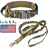 Tactical Dog Collar and Bungee Leash, Military K9 Dog Collar Leash Set - Adjustable Dog Collars with American Flag Patch…