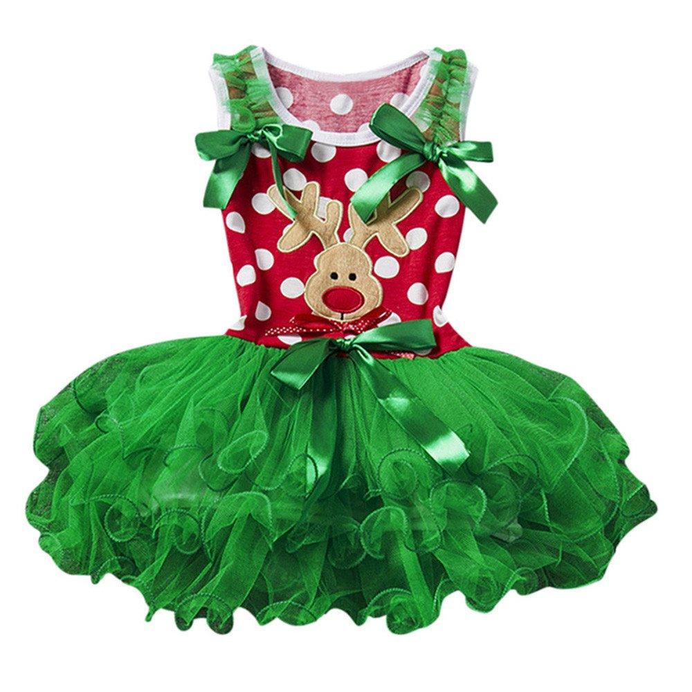 Kolylong 2018 Noël Robe Tutu de soirée Bowknot Wapiti de Noël imprimée Déguisement Costume Rouge Vert Nouveau né Bébé Filles Princesse Enfants Sapin de Noël vêtements Tenues Ensemble 2 à