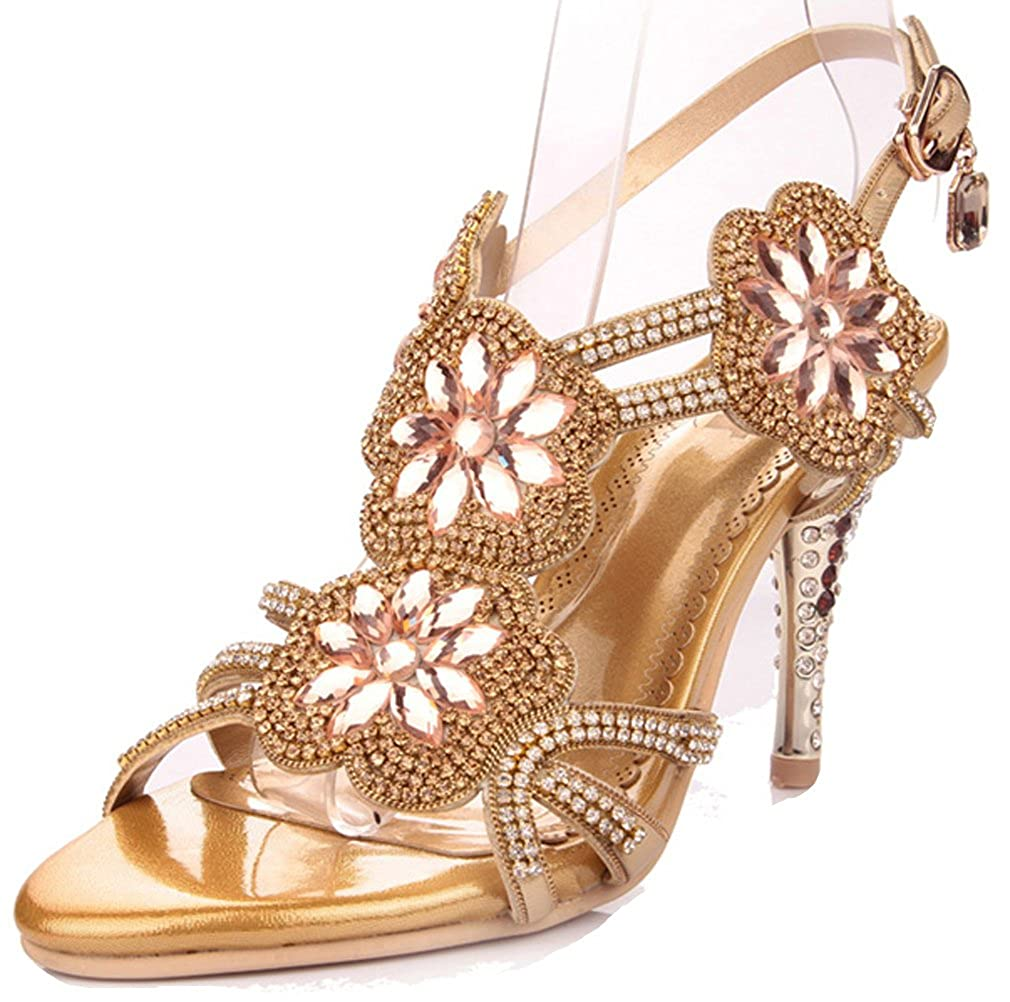 Women's Glitter Faux Jewel Gold Rosette Strappy High-Heel Dress Sandals - DeluxeAdultCostumes.com