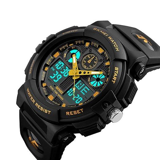 Para hombre golpes deportes al aire libre LED reloj Digital hora Dual pantalla Chrono Negro Resina Reloj 50 m resistente al agua: Amazon.es: Relojes