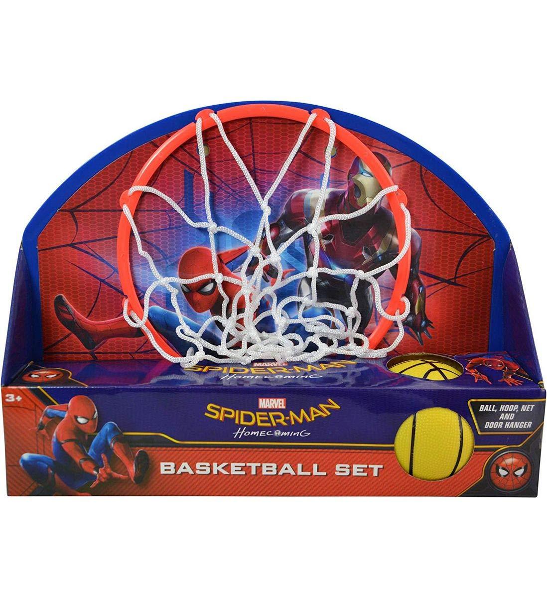 Mozlly マルチパック マーベルコミックス スパイダーマン ホームカミングバスケットボールセット ボール、フープ、ネット、ドアハンガー付き スポーツアクセサリー (3個セット) B07JGK37NR