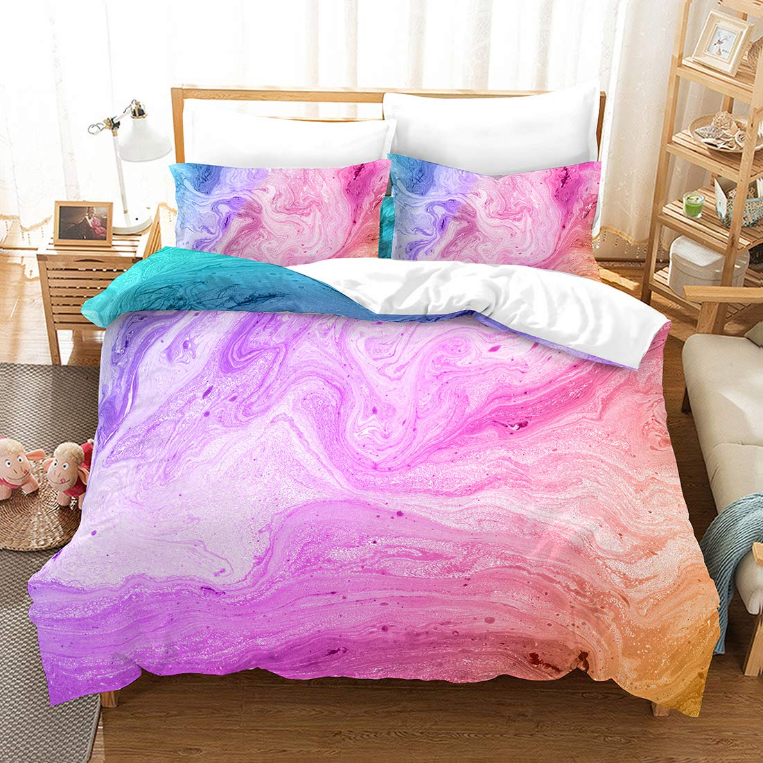 Watercolor Marble Bedding Marble Duvet Cover Set Pink Blue Abstract Marbling Texture Design Teens Boys Girls Bedding Sets Queen (90x90) 1 Duvet Cover 2 Pillowcases (Marble, Queen)
