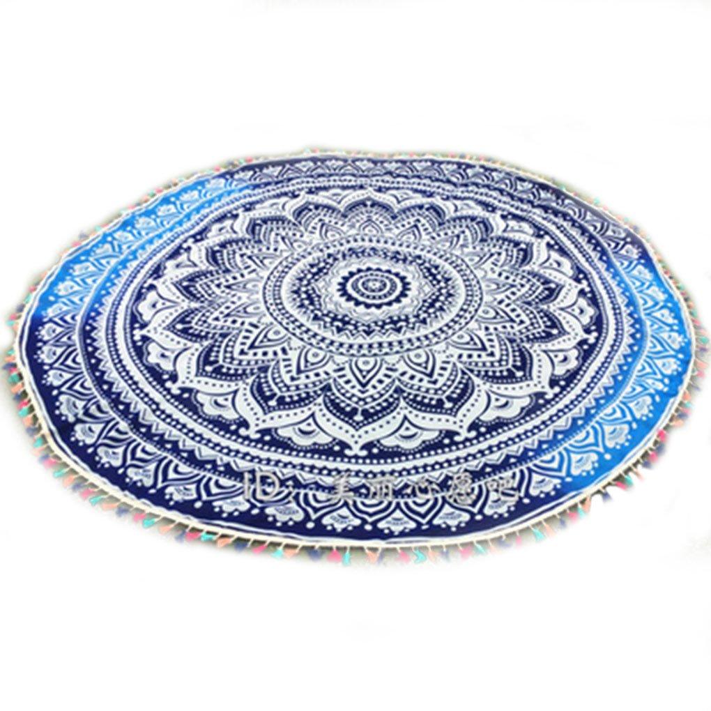 LUFA Ronda de Color Borla Floral Impreso Beach Manta de la Toalla de Yoga tapete Tapiz: Amazon.es: Deportes y aire libre