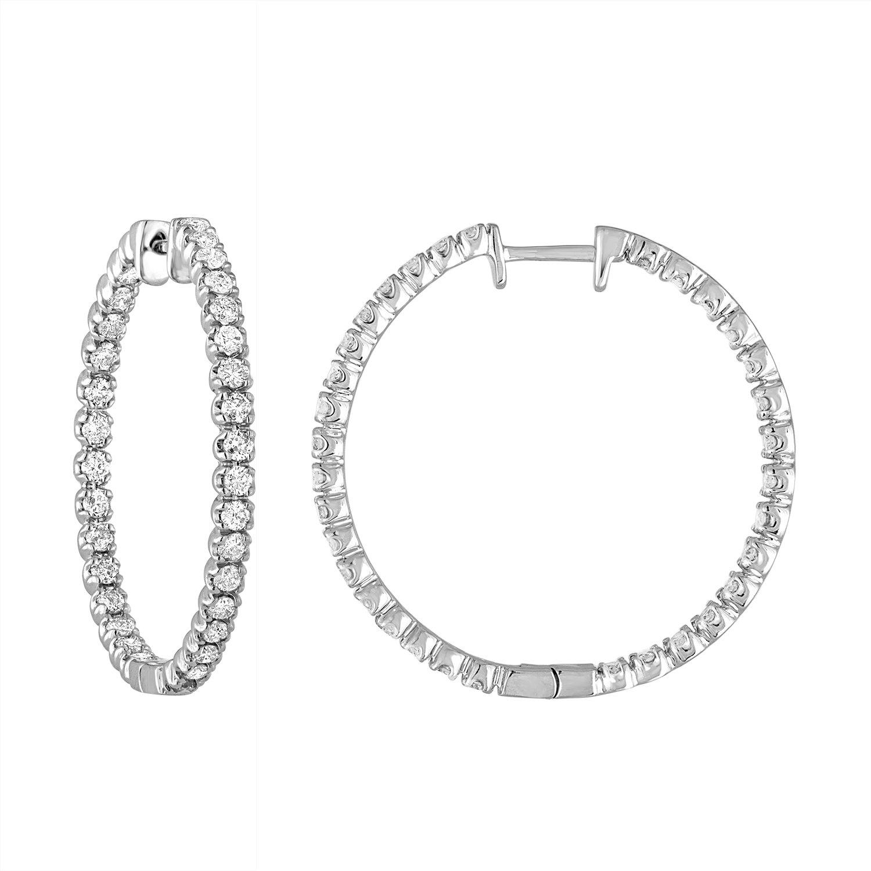 2 cttw AGS Certified I1-I2 14K White Gold Diamond Inside-Out Hoop Earrings (H-I)