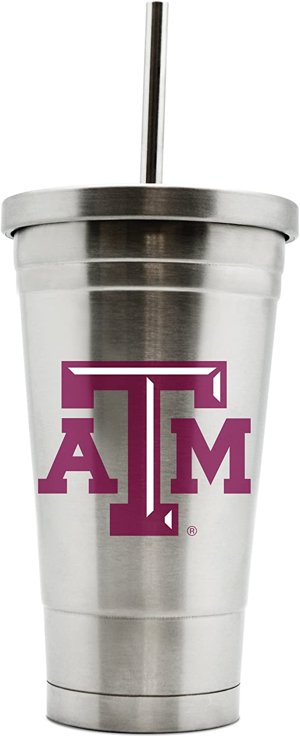 NCAA Texas A & M Aggies 17oz Double Wall Stainless Steel Thermo Tumbler with Straw