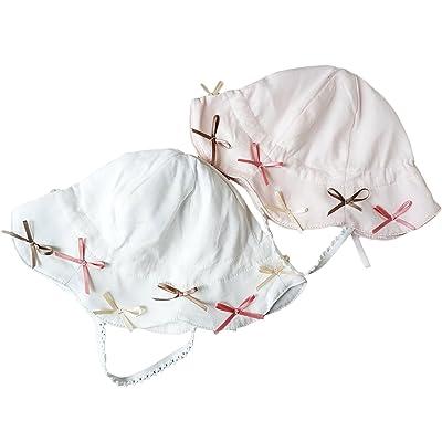 0037343cf5822 DANMY Child Brim Sun Hat Girl Bucket Hats - UPF 50+ Protection Hat Toddler  Bow Hats