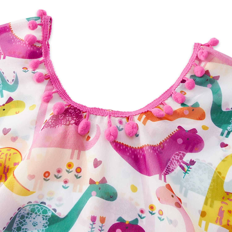 Funnycokid Girls Swimsuit Cover Up Tassel Beach Dress V-Neck Swim Cover-Up 3-12 Years