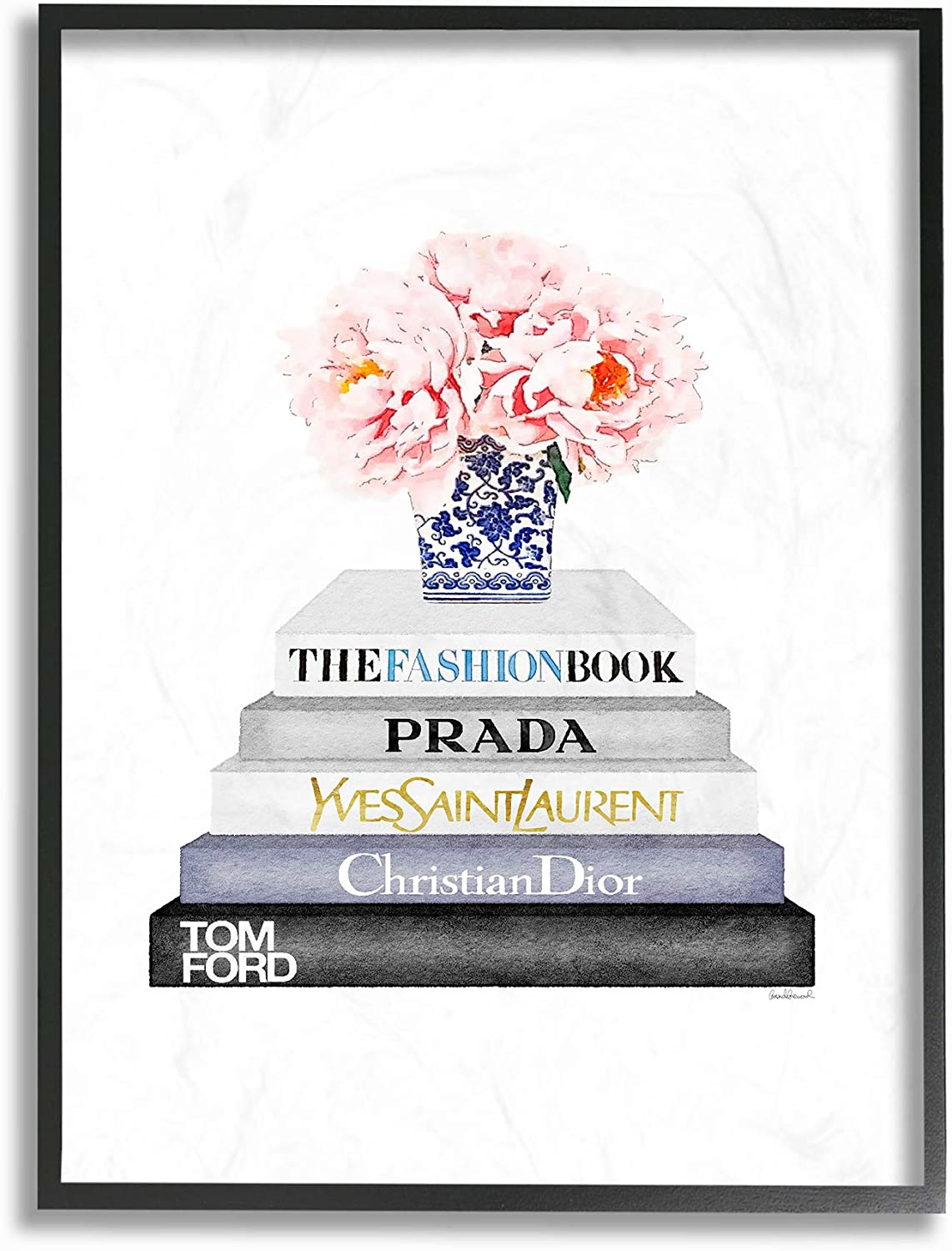 The Stupell Home Decor Grey Fashion Bookstack with Pink Flowers in Blue and White Vase Framed Giclee Texturized Art, 24 x 30, Multi-Color