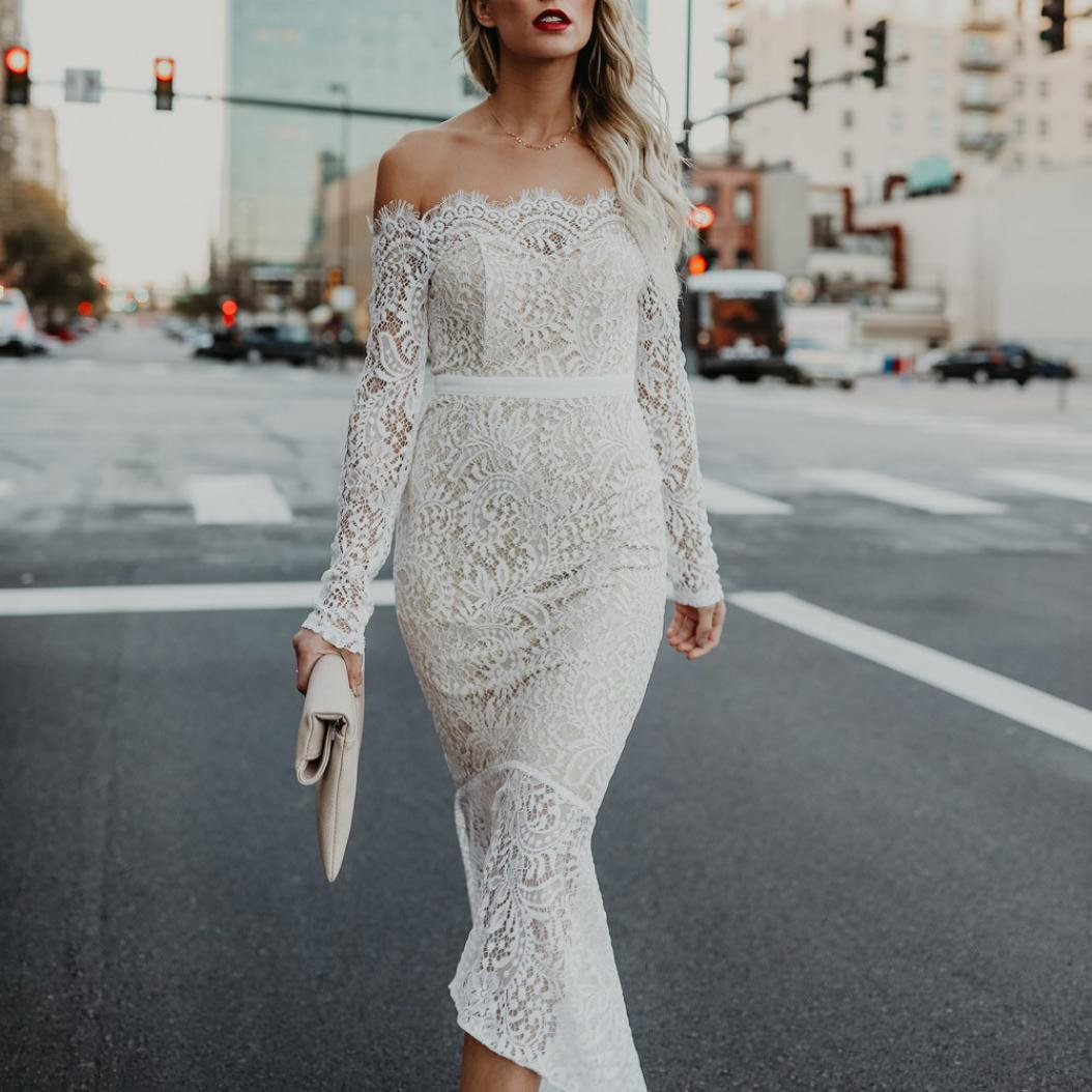 Gyoume Off Shoulder Lace Dress Evening Party Bodycon Party Wedding Dress (S, White)
