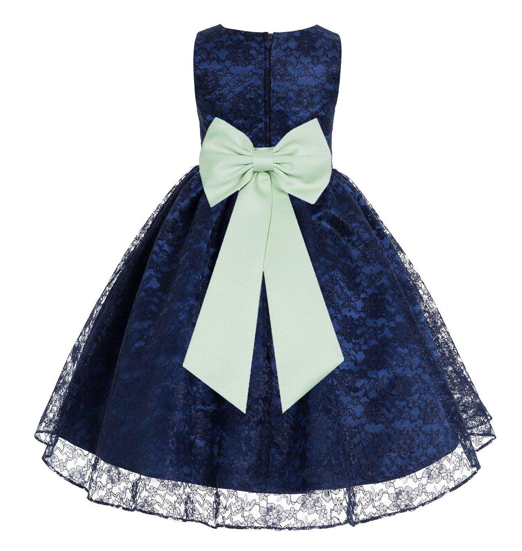 Ekidsbridal Navy Blue Lace Flower Girls Dress Wedding Dresses Special Occasion Dress Baptism Dresses Daily Dress 163t
