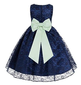 d35345f87355 Amazon.com  ekidsbridal Navy Blue Lace Flower Girls Dress Toddler ...