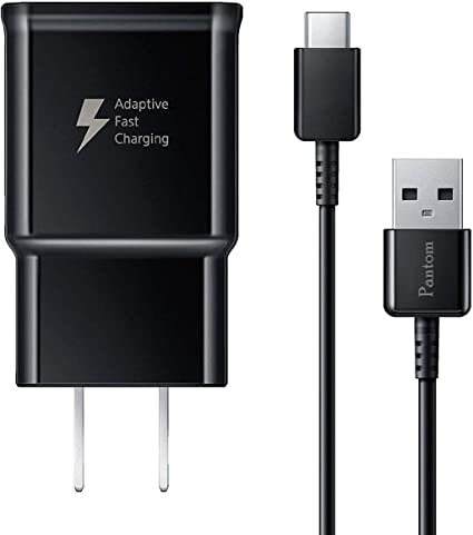 Pantom Adaptive Fast Charging Wall Charger and 5-Feet USB Type C Data Cable Kit Compatible with Samsung Galaxy S10/S10+/S9/S9+/S8/S8+ Note 8/Note 9 & ...