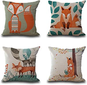 HEYFAIR Decorative Fox Throw Pillow Covers Cotton Linen Cushion Cases Sham Decor 18 x 18 inch (Fox)