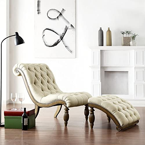 Weston Home Beige Linen Button Tufted Chaise and Ottoman – Light Distressed Driftwood
