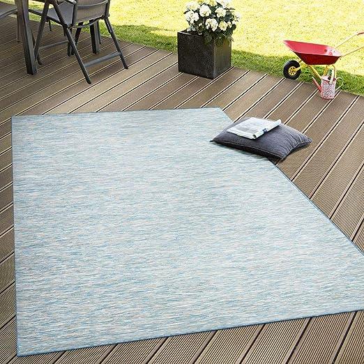 Paco Home Alfombra Interior Y Exterior Tejido Liso Terrazas Transición De Color En Azul Tamaño 140x200 Cm
