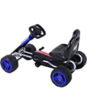 Aosom Durable Pedal Go Kart Racing Style Children Ride On Car Outdoor Racer Blue