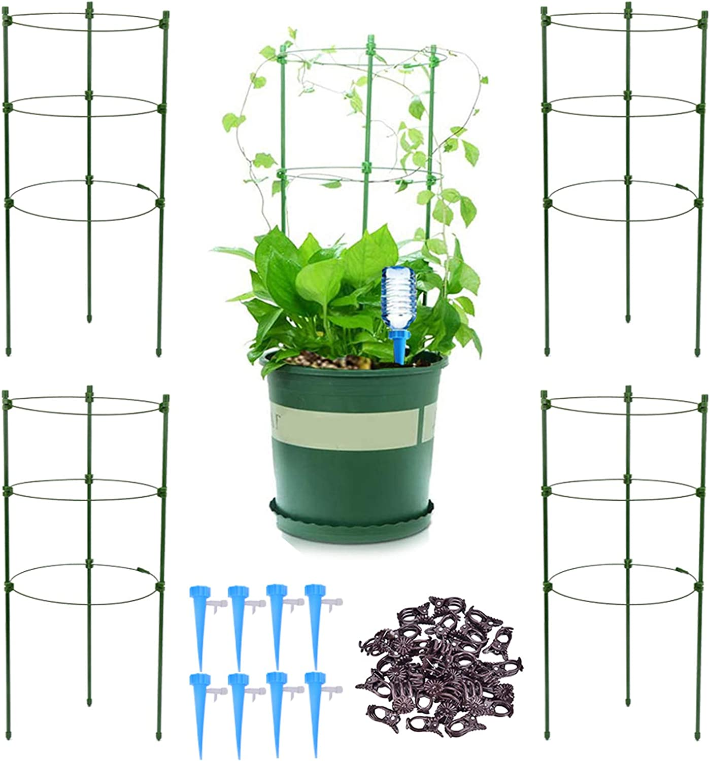 4 Pack Garden Plant Support Tomato Cage Plant Trellis Kits with 4 Self Watering Spikes and 20 Plant Clips 18 Upgrade 18 Trellis for Climbing Plants