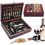 Yobansa Boîte en bois 9pièces accessoires du vin Coffret cadeau avec Chess, lapin Ensemble Tire-bouchon, décapsuleur et bouchon de rosewood 9 set with chess