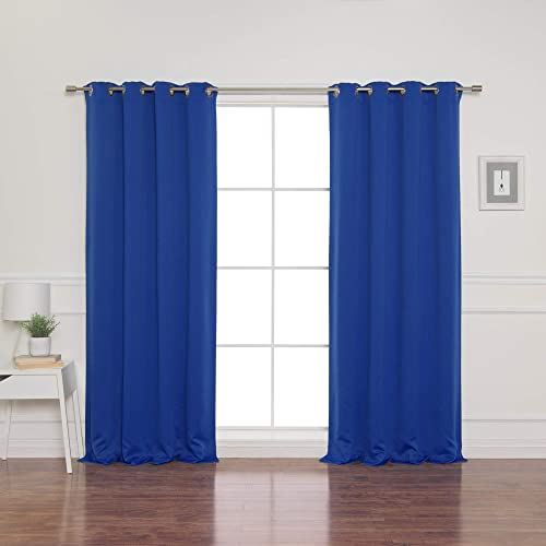 Best Home Fashion Blackout Curtain Panels – Premium Thermal Insulated Window Treatment Blackout Drapes for Bedroom – Antique Bronze Grommet Top Royal Blue – 52 W x 108 L – Set of 2 Panels