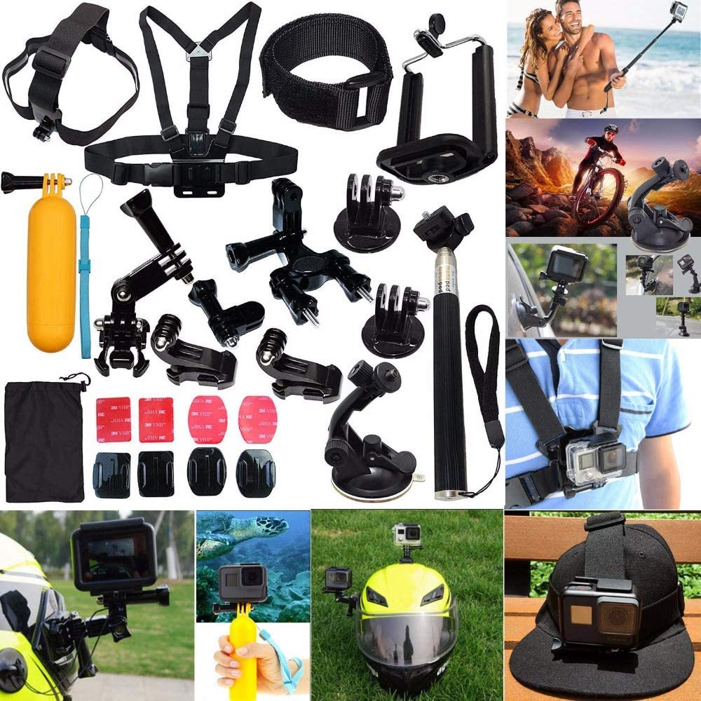 Outdoor Sports Action Camera Accessories Kit 23 in 1 Action Camera Accessories Kit for GoPro Hero 2018 GoPro Hero7 6 5 4 3 with Carrying Case Chest Strap Vented Helmet Strap