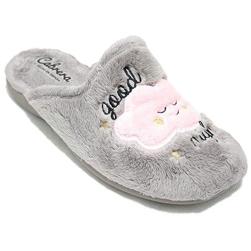 Cabrera 4156 - Zapatillas De Estar por Casa Mujer con Nube Oveja Rosa Y Mensaje Good Night: Amazon.es: Zapatos y complementos