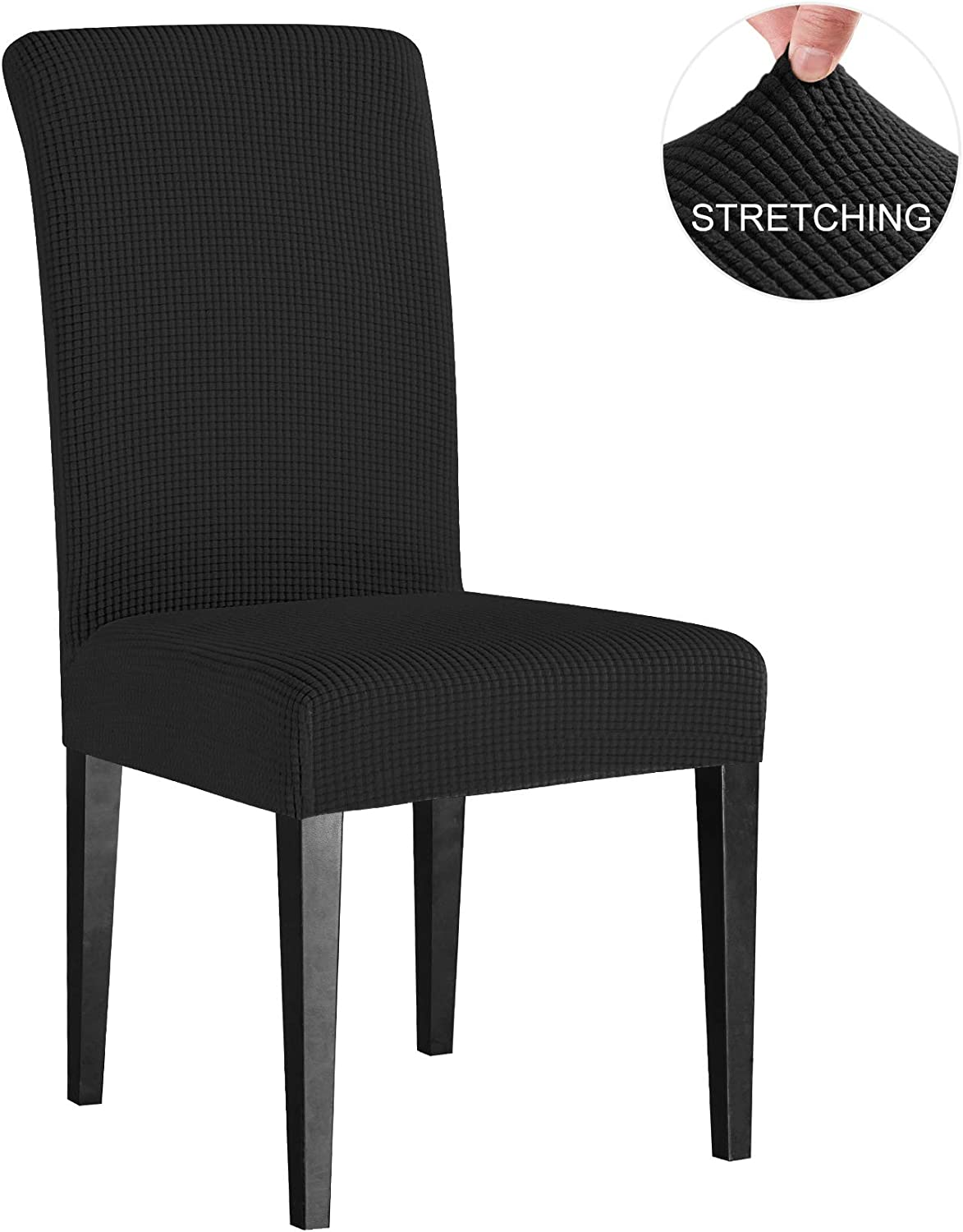 Subrtex Dining Room Chair Slipcovers Sets Stretch Furniture Protector Covers for Armchair Removable Washable Elastic Parsons Seat Case for Restaurant Hotel Ceremony, 4 Pieces, Black Checks