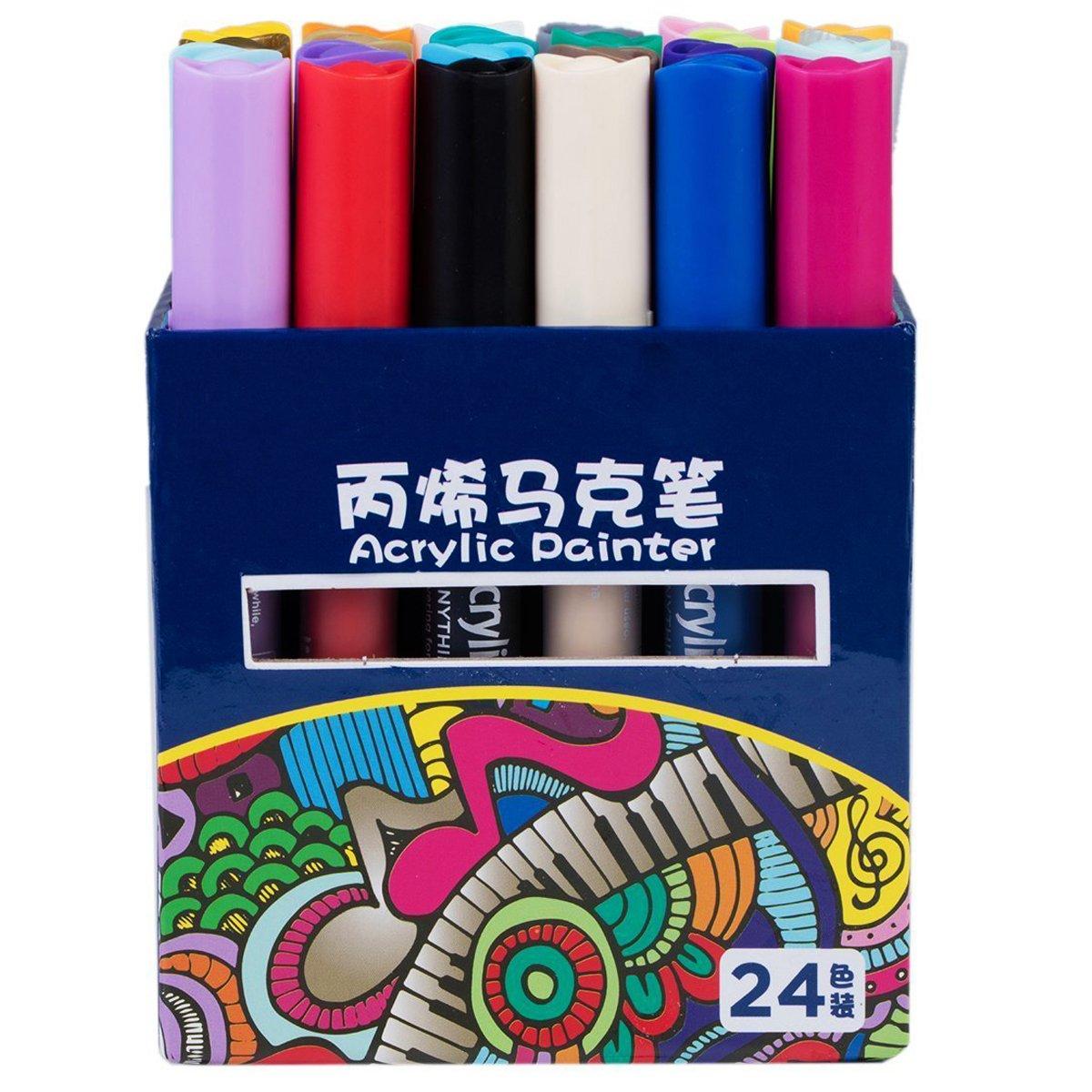 Acrylic Paint Markers 24 Colors Medium Tip Acrylic Pens ...