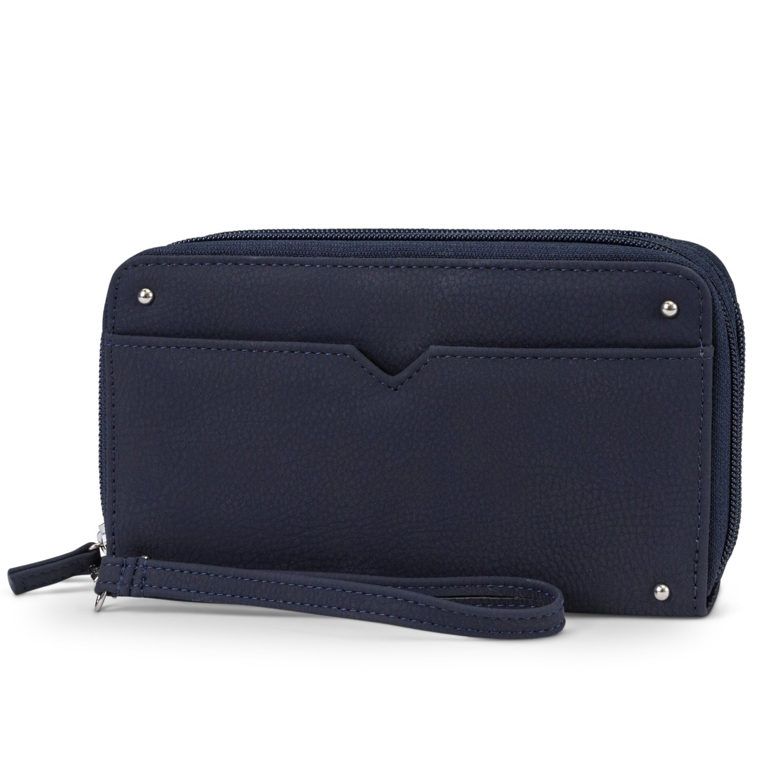 Mundi Double Zip Vegan Leather Womens RFID Clutch Wallet With Wristlet Strap (Navy)