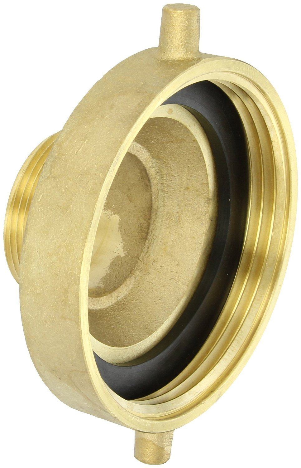 Dixon Valve HA4525F Brass Fire Equipment, Hydrant Adapter with Pin Lug, 4-1/2'' NST (NH) Female x 2-1/2'' NST (NH) Male