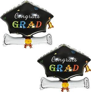 Graduation Cap Balloon, Pack of 2 - Graduation Party Supplies 2020 and Graduation Decorations   Helium Supported Foil Mylar Ballon   Cap Shape Grad Balloon   Ballons for Graduation Party Decoration
