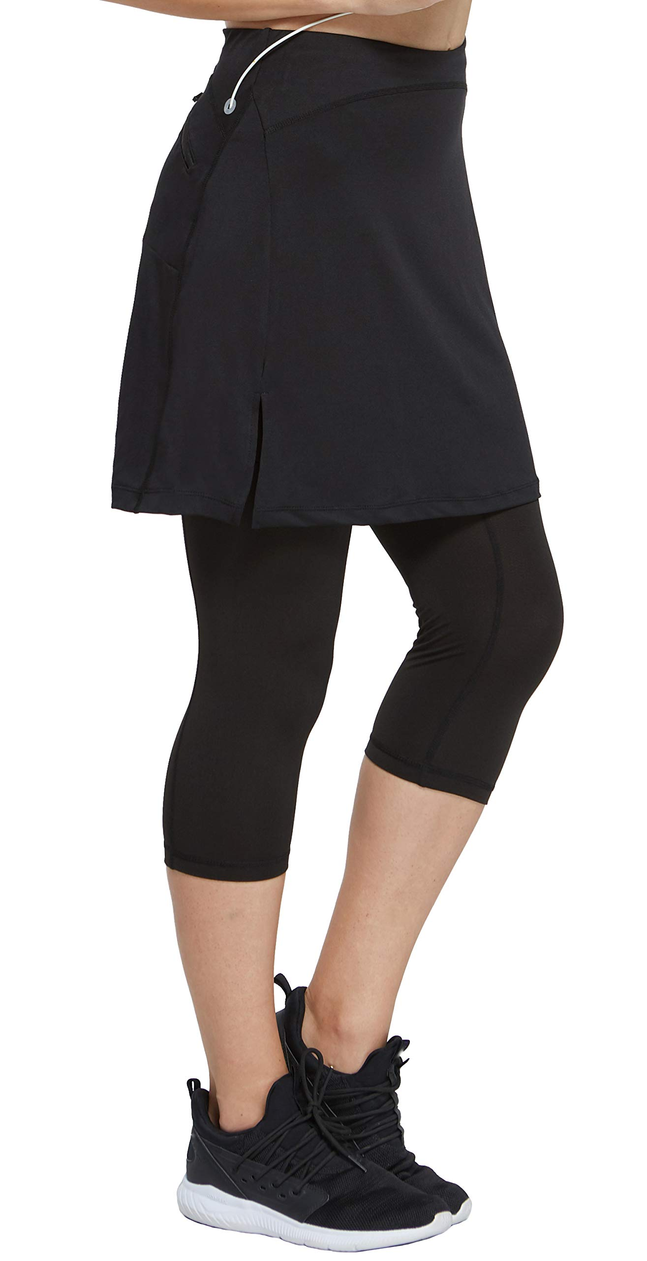 slimour Women Golf Skirt with Leggings Capri Skirt Leggings with Pockets Skirted Leggings Black M by slimour