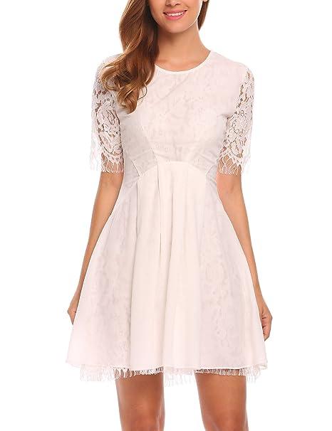 b81dd8cb4024 Zeagoo Women s Plain Lace Round Neck Half Sleeve Homecoming Mini Dress