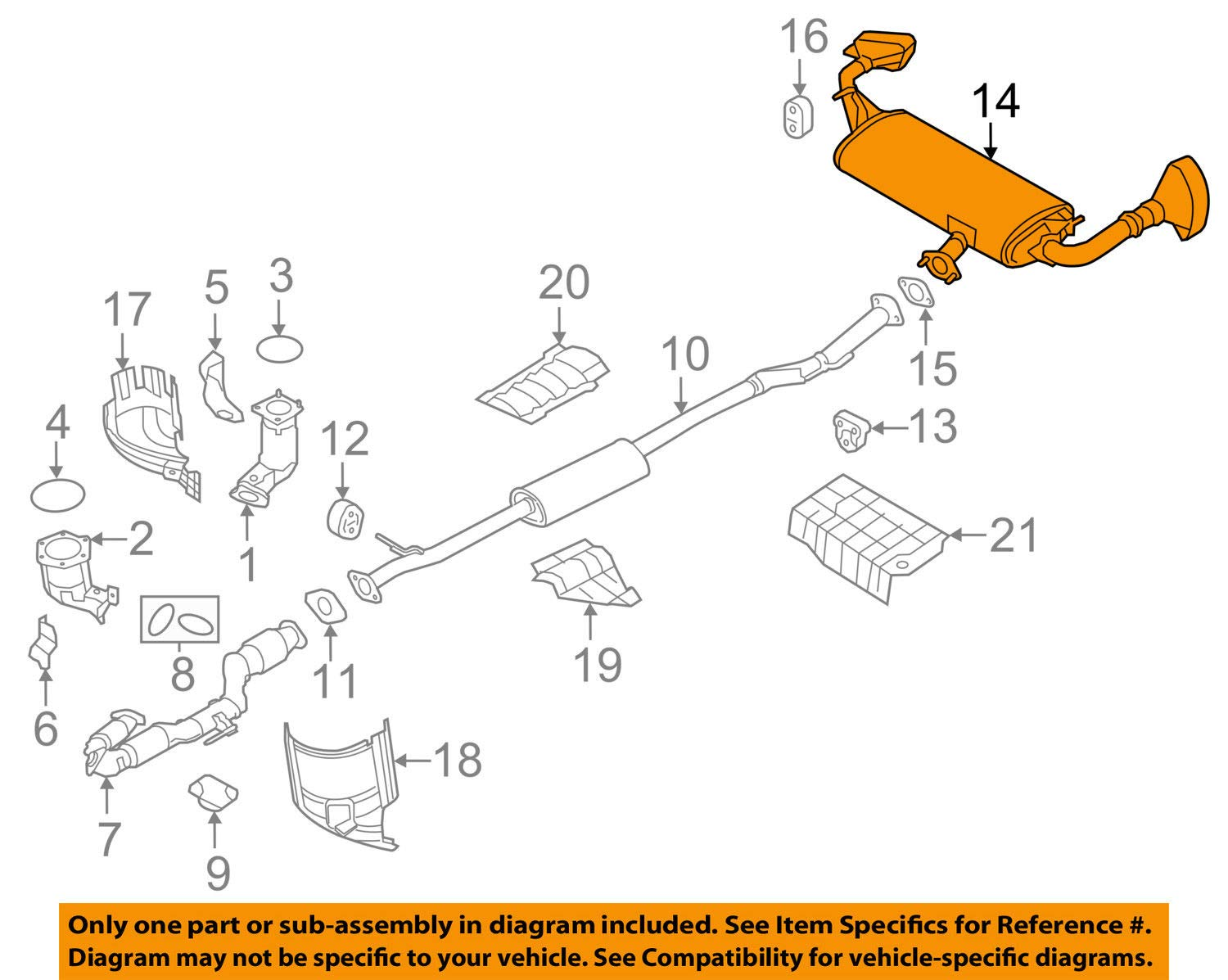 Nissan 20100-5AA2A Muffler Assembly-Exhaust,Main by Nissan (Image #1)