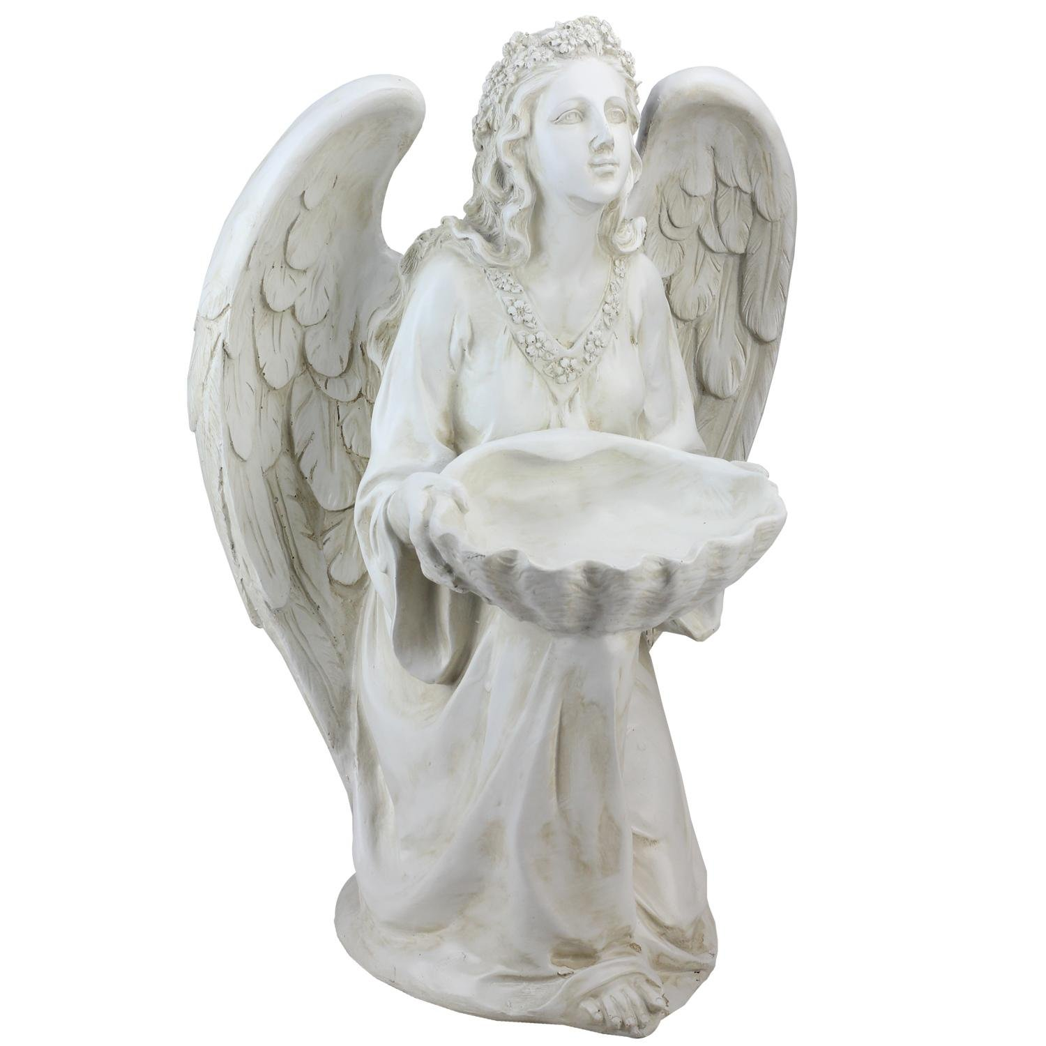 Northlight Kneeling Angel Holding Shell Religious Outdoor Garden Statue Bird Feeder, 19.75