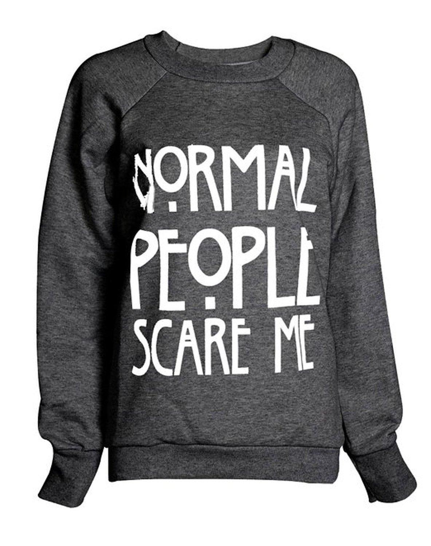 Women's Normal People Scare Me Print Fleece Sweatshirt Hoodie Top 7 colors