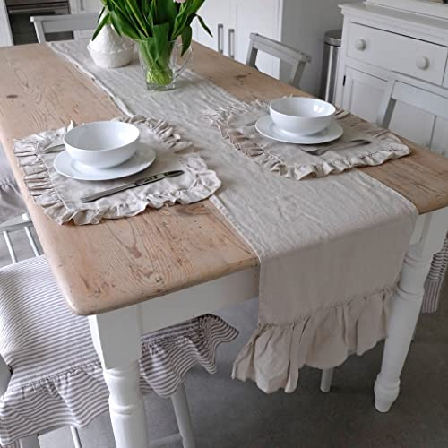 Handmade Shabby Chic Natural Linen Table Runner