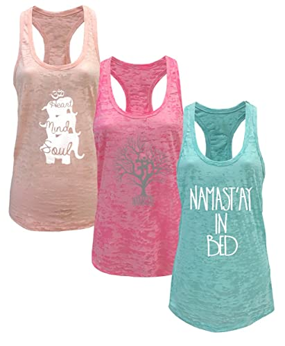 Tough Cookie's Women's Yoga Burnout Tank Top 3 Pack Deal Printed Arts