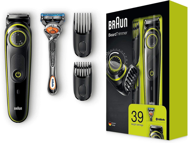 Braun BT3041 - Recortadora de barba y cortapelos, eléctrico con cuchillas afiladas de larga duración, maquinilla Gillette Fusion5 ProGlide Con Tecnología FlexBall de regalo, negro