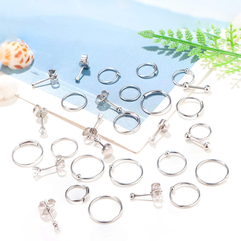 Jstyle 30Pcs Stainless Steel Cartilage Earrings Hoops for Men Women Tiny Stud Earrings Ball CZ Tragus Conch Helix Piercing Earrings Jewelry