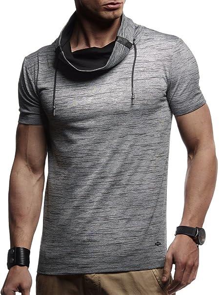 LEIF NELSON Hombres Niños Camiseta con Capucha de Cuello Redondo Longsleeve de Manga Corta Cuello Alto