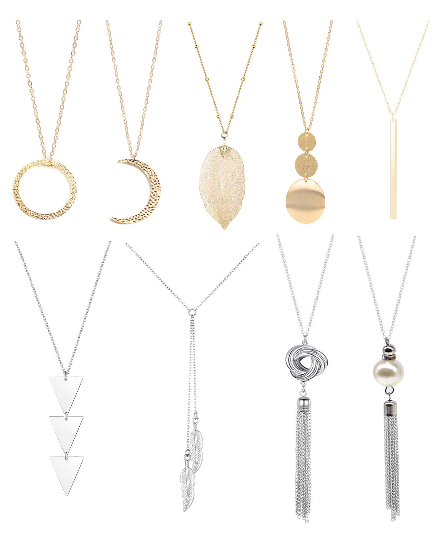 9 Pieces Long Pendant Necklace Simple Bar Layer Three Triangle Tassel Y Charm Sweater Necklace Chain for Women,Gold and Silver by Wremily