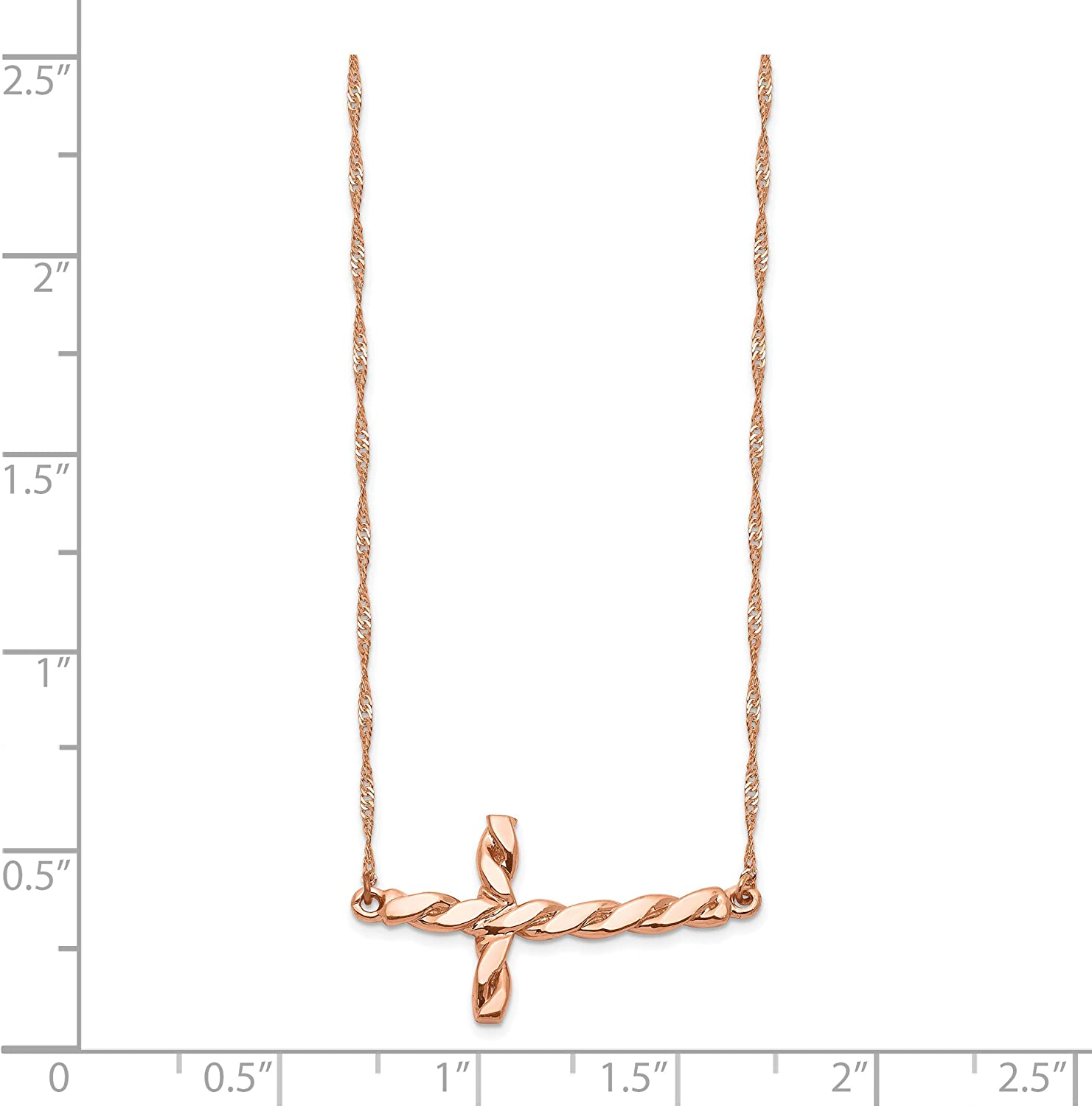 Solid 925 Sterling Silver Polished /& Satin Twisted Chain Slide Pendant Pendant